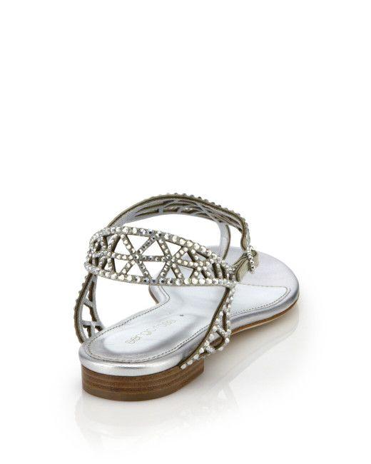 4707c5ef27f0 Sergio Rossi - Metallic Tresor Swarovski Crystal Flat Sandals - Lyst