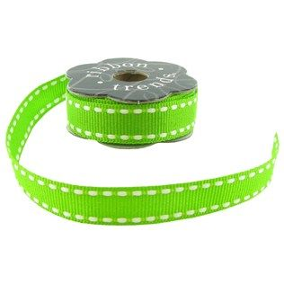 Lime Green & White Stitched Grosgrain Ribbon | Shop Hobby Lobby