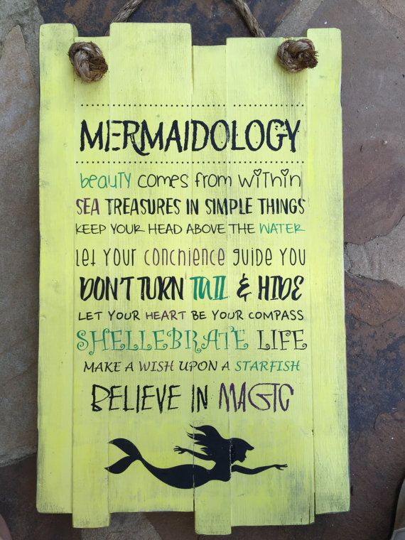 Mermaidology Sign, Personalized Wood Sign, Gift For Her, Mermaid ...