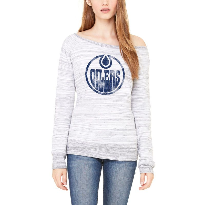 Edmonton Oilers Let Loose by RNL Women's Game Day Wide Neck Pullover Sweatshirt - Ash
