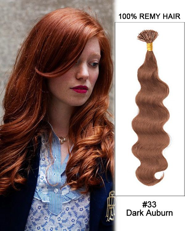 14 33 Dark Auburn Body Wave Stick Tip I Tip 100 Remy Hair Keratin