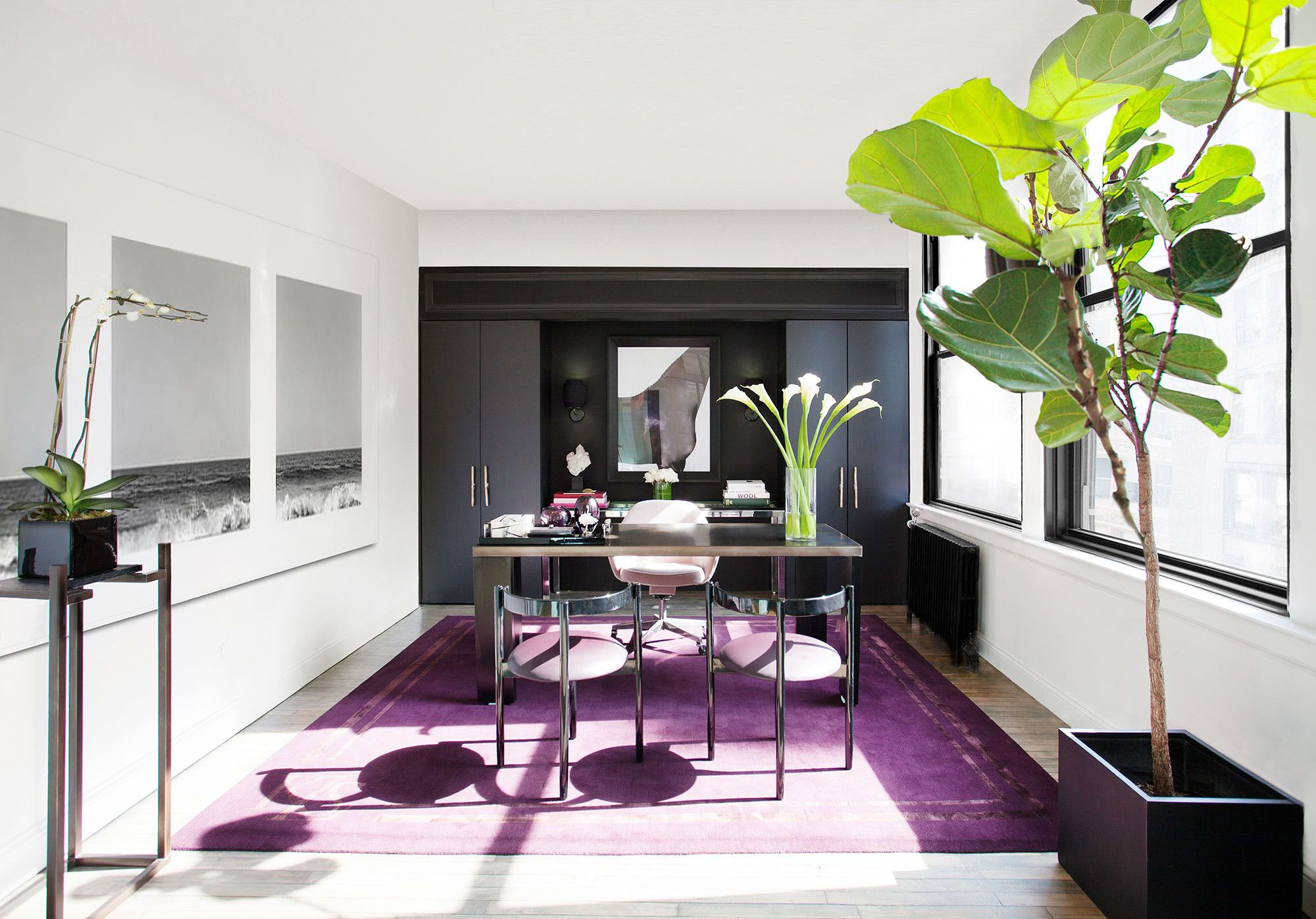 A Rich Purple Rug Covers The Floor Of An Executive Office In Fashion  Designer Kimora Lee