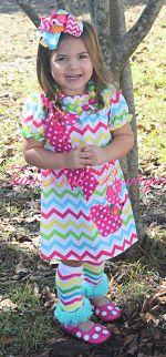 Boutique Dress Short Sleeve Easter Bunny Chevron