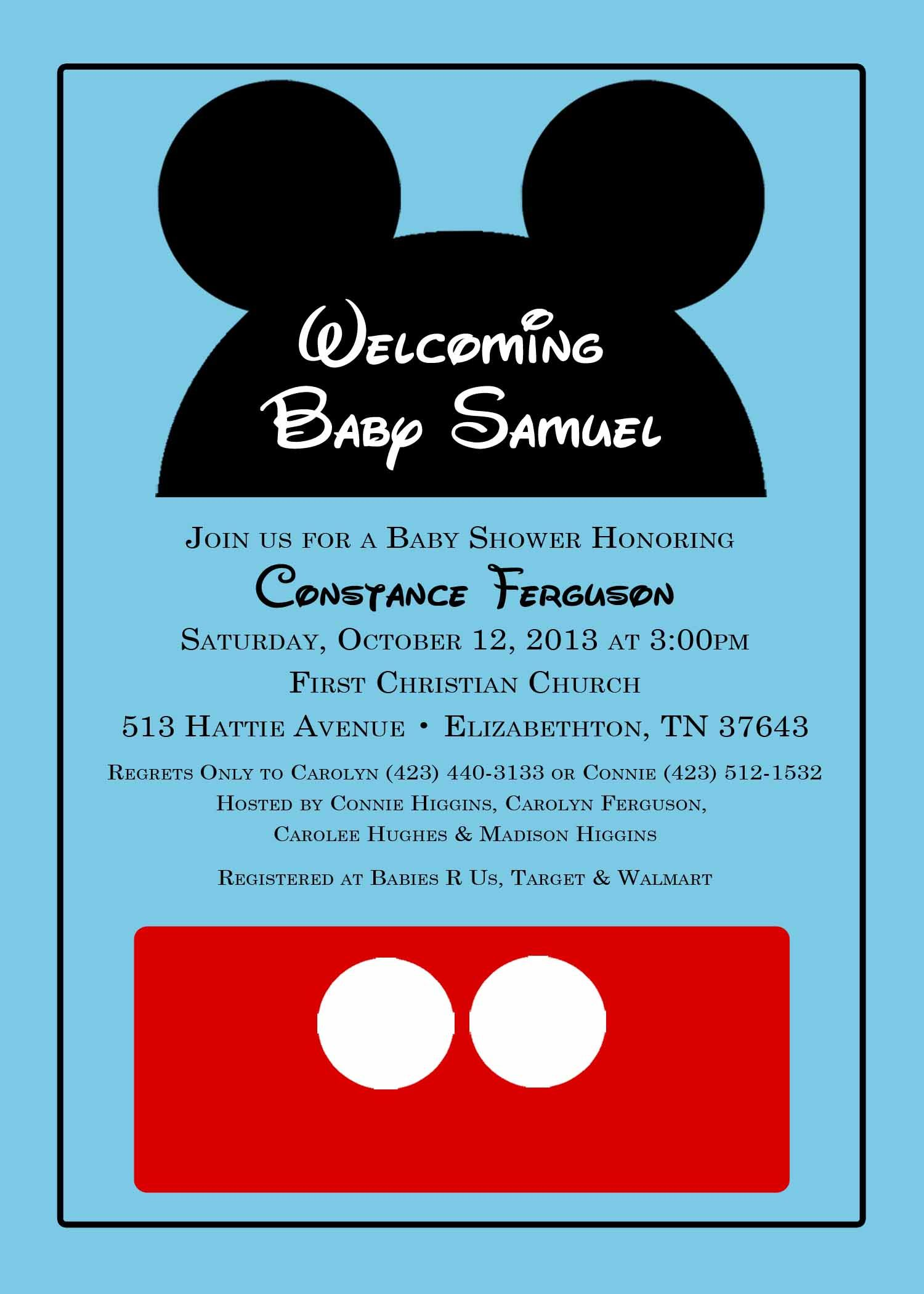 Mickey Mouse baby shower invitation from katedidesign on etsy.com ...
