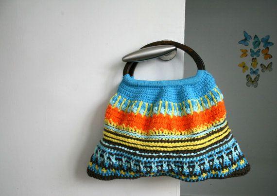 Crochet Pattern Wooden Handle Crochet Purse Retro Style Etsy Crochet Handles Crochet Patterns Crochet Purses