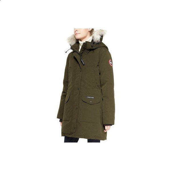 Canada Goose Trillium Fur-Hood Parka Jacket ($900) ❤ liked on Polyvore featuring outerwear, jackets, military green, womens apparel outerwear, cana…