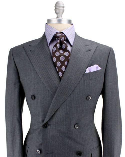 Ermenegildo Zegna - Grey Herringbone Double Breasted Suit  28e74fc202e