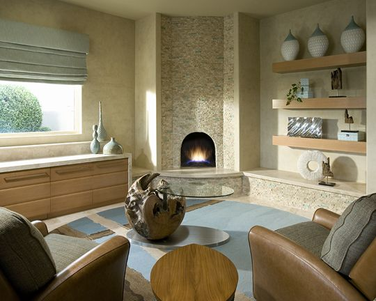 An outdated beehive fireplace is transformed with chiseled ...