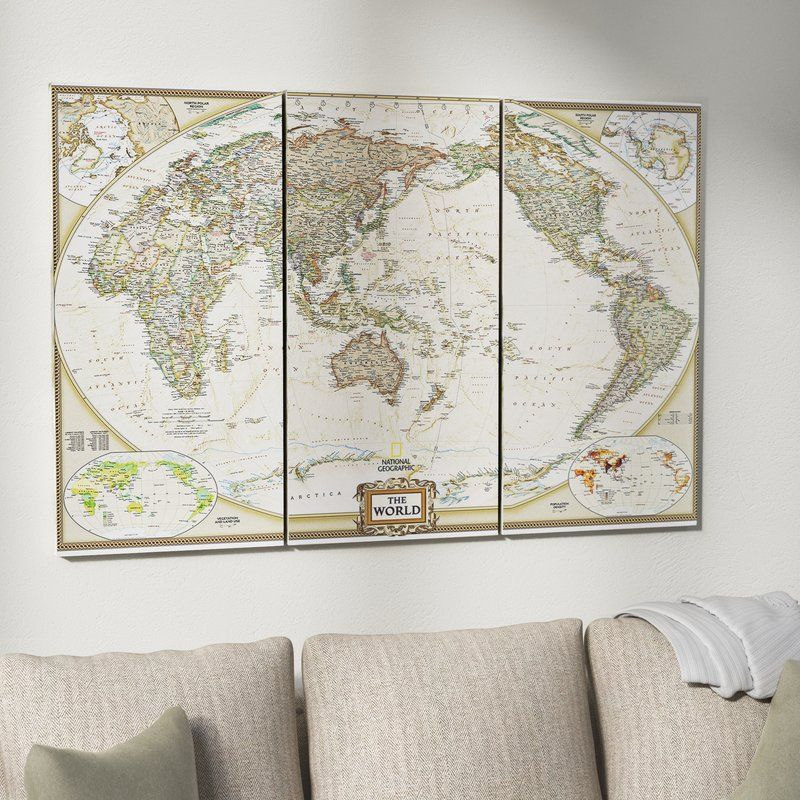 National Geographic World Map Graphic Art Print Multi Piece Image On Wrapped Canvas World Map Wall Art Graphic Art Print Graphic Art