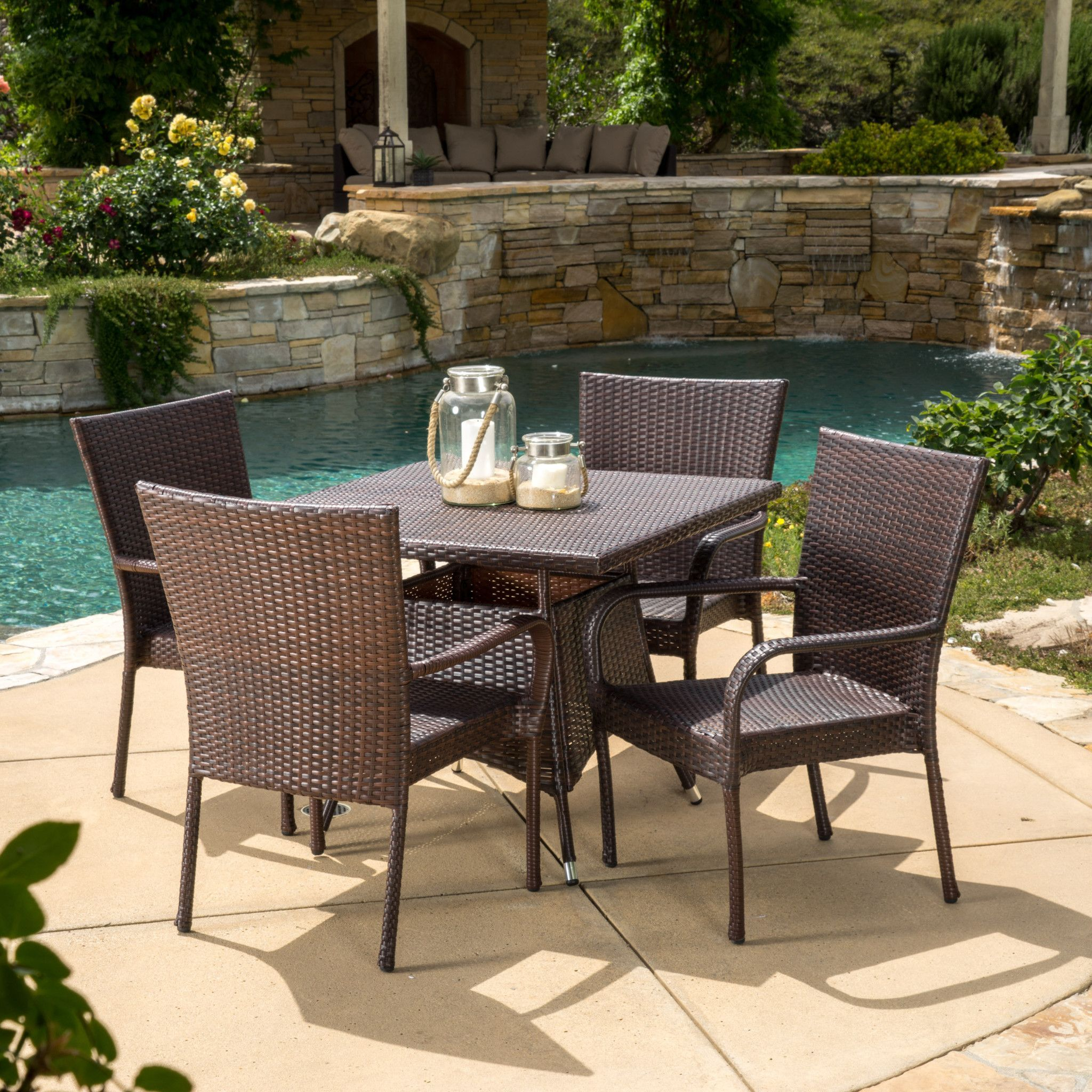 Kory Outdoor 5pc Multibrown Wicker Square Dining Set Enjoy the