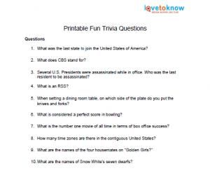 Printable Fun Trivia Questions | Senior Projects | Fun