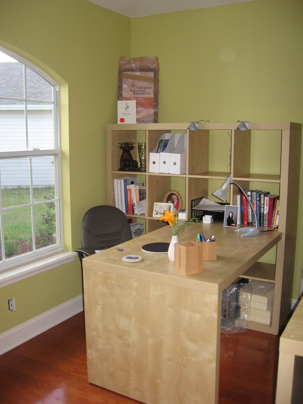 ikea expedit bookcase and attachable desk nice