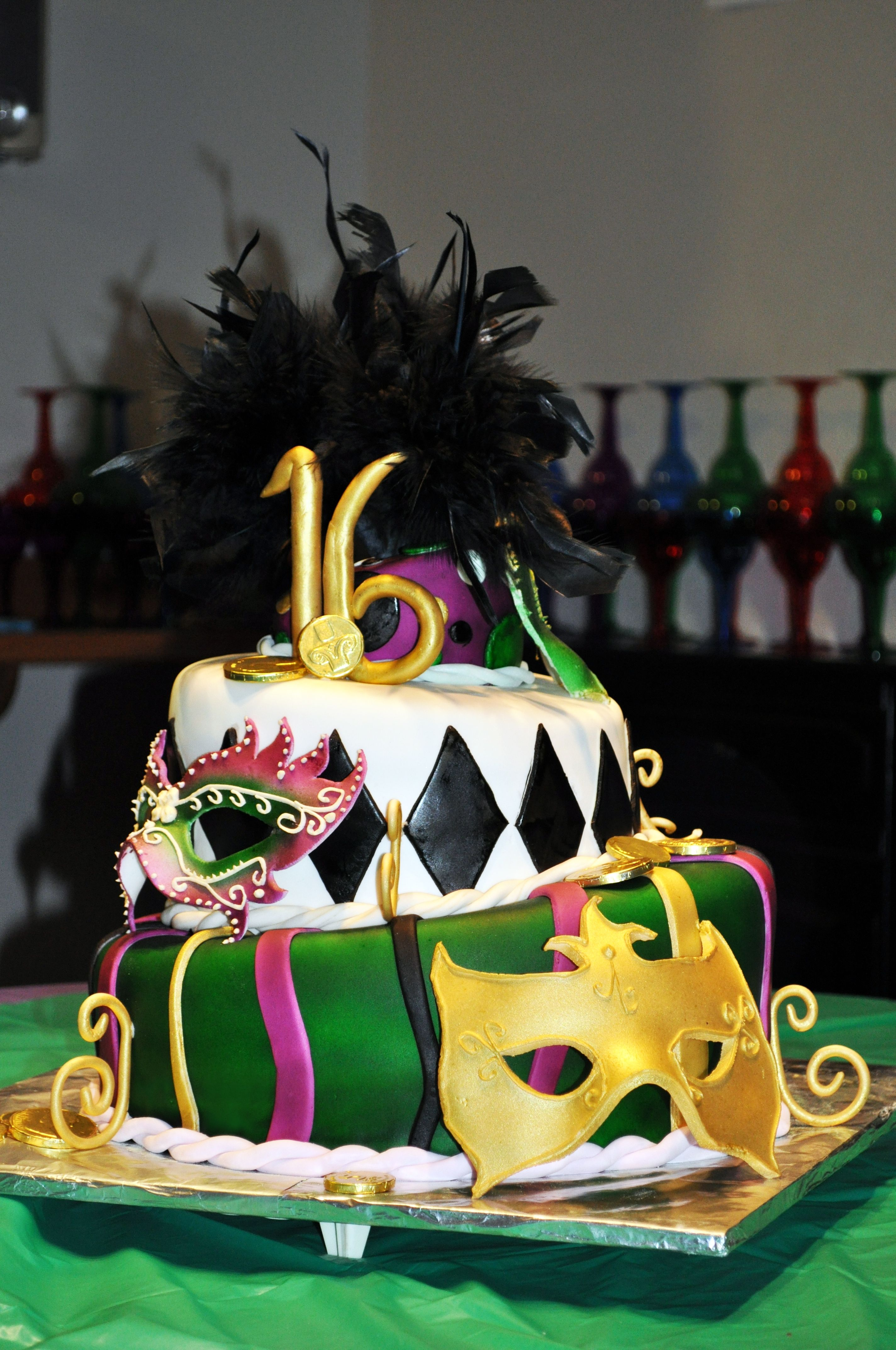 Mardi Gras 16th Birthday Cake All Is Edible Except For The