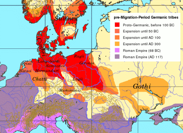 1st Century World Map.Germanic Tribes In Europe During 1st Century Bc And 4th Century Ad
