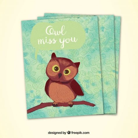 Decorative greeting card with cute owl Free Vector