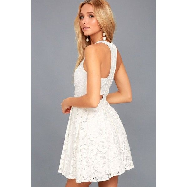 62b1c26194 Lulus Daisy Date White Lace Skater Dress ( 66) ❤ liked on Polyvore  featuring dresses
