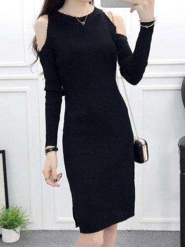 81ed8579e864 #BFCM #BlackFriday #CyberMonday #PopJulia - #PopJulia Black Knitted Cold  Shoulder Long · Long Sleeve DressesSleeved ...
