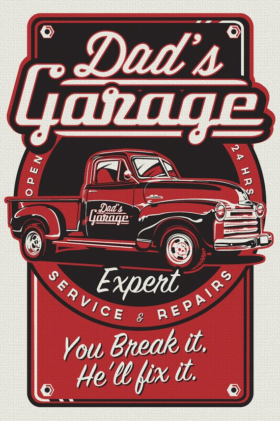 Dads Garage Metal Sign Pickup Truck Fathers Day Gift Man Cave