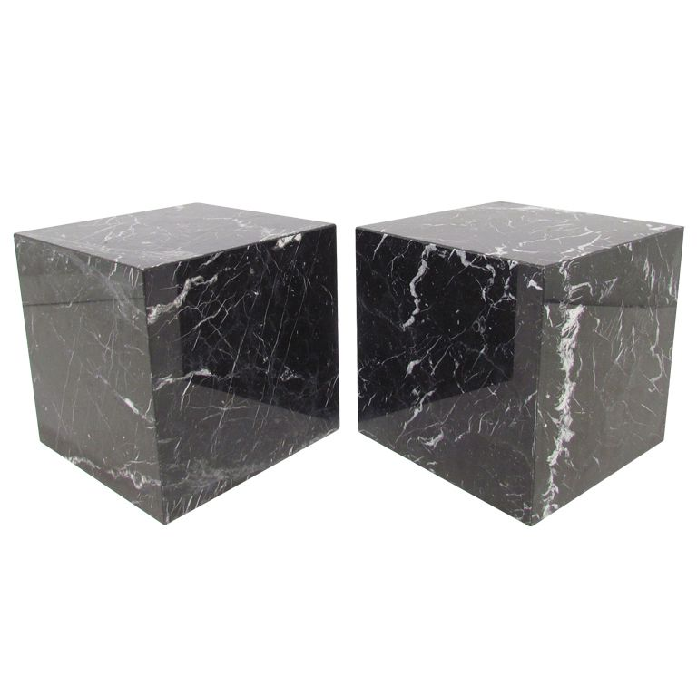 Low Square Tall Marble Side Table White Or Black Stardust Marble Side Tables White Side Tables Side Table