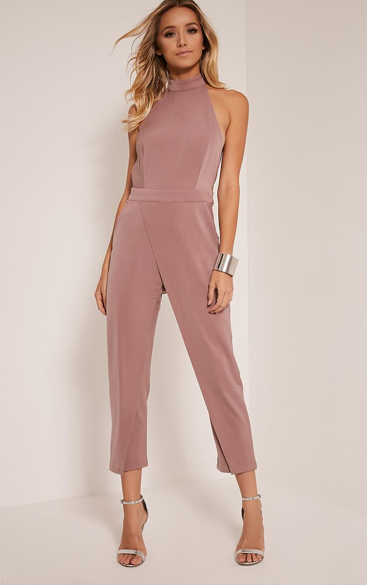 a219914fd2fe Carolinah Mauve Wrap Detail High Neck Jumpsuit - Jumpsuits   Playsuits -  PrettylittleThing
