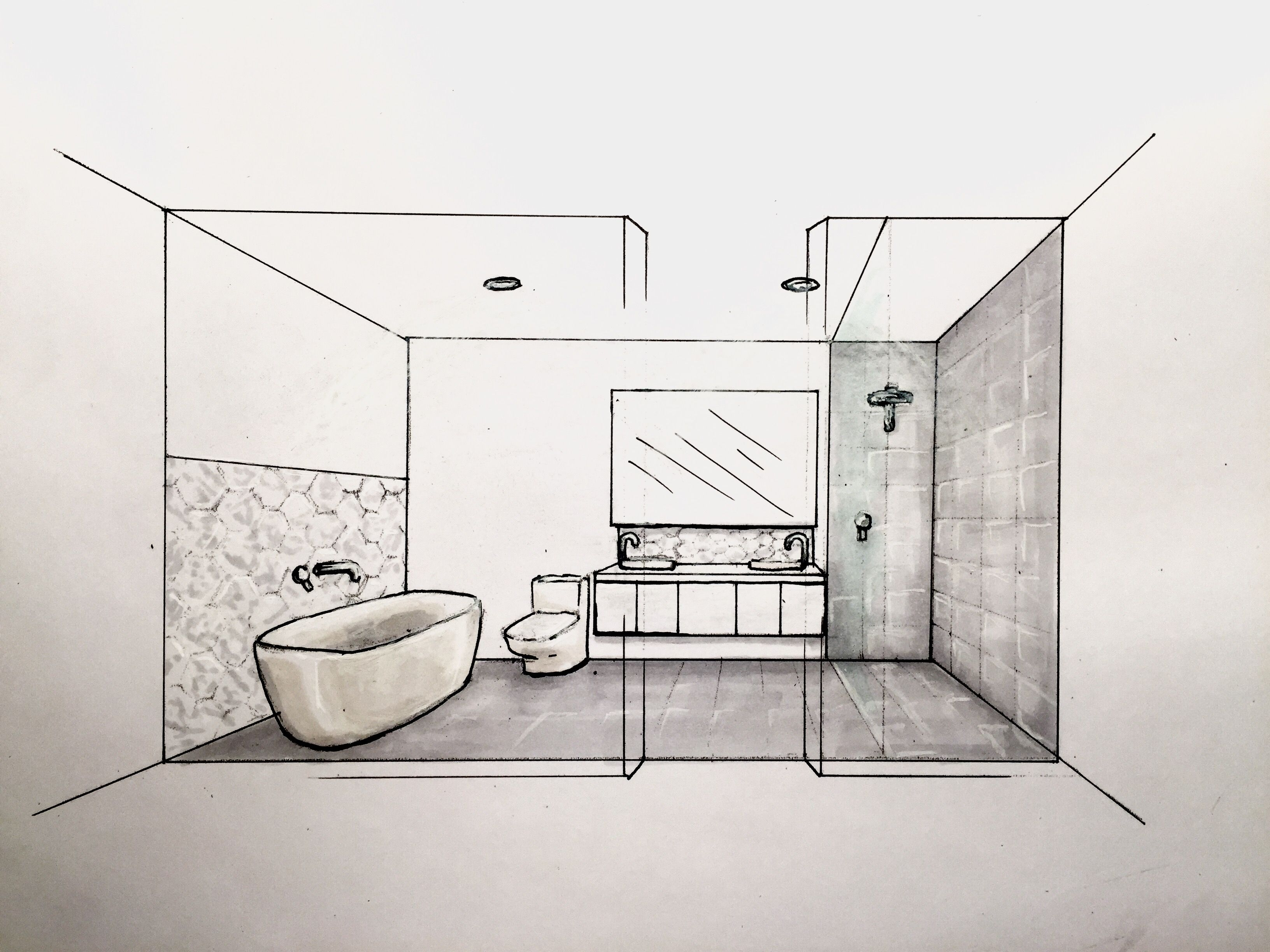 Bathroom Concept Using 3d Perspective And Copicmarkers