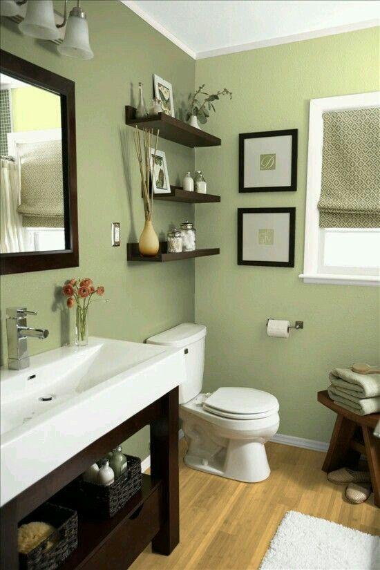 Sage And Espresso In The Bathroom Bathroom Color Schemes Small Bathroom Decor Green Bathroom