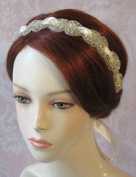 Crystal Bridal Headband Rhinestone Wedding Head by TheRedMagnolia, $78.00