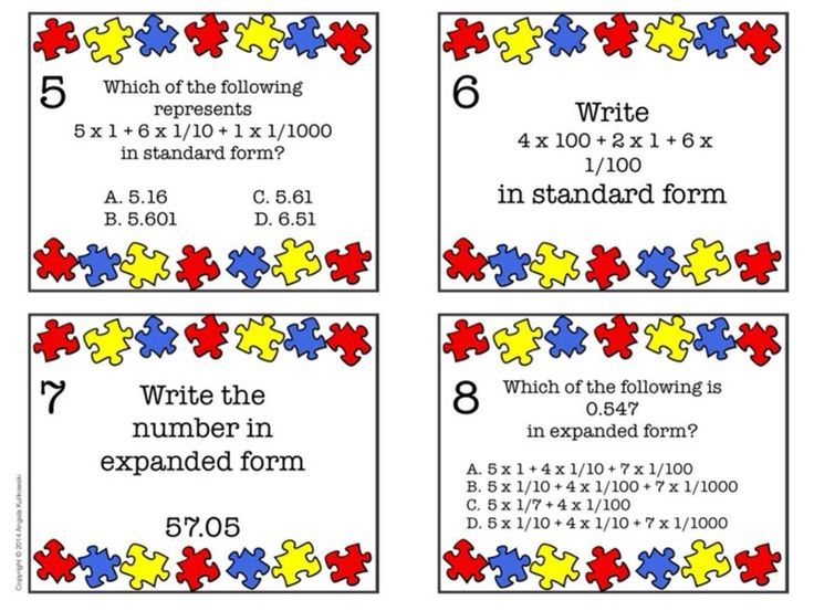 Expanded Form Task Cards 5th Grade Common Core Common Cores