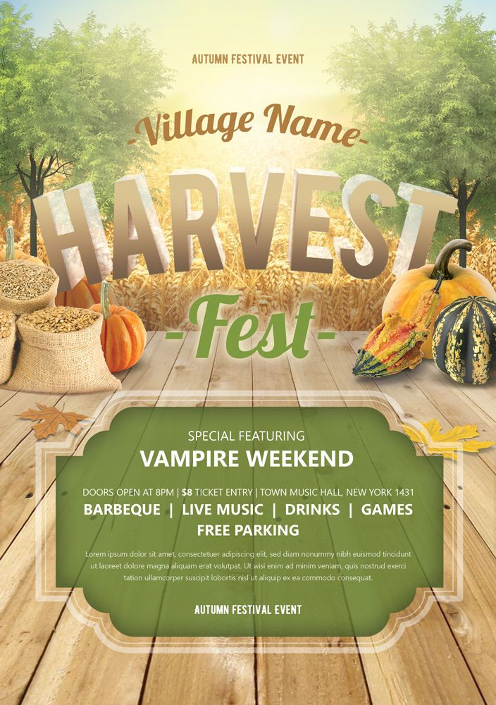 harvest festival flyer template psd