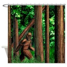 Bifoot Shower Curtain By Johnnymacabre Shower Curtain Designer Shower Curtains Bigfoot Art