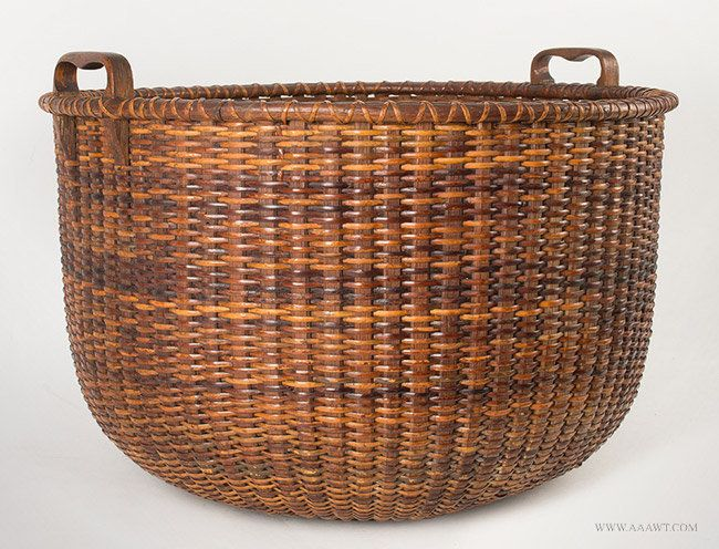 $11,250 Large Antique Nantucket Basket in Rare Bushel Size with Fixed Heart Shape Handles, angle view