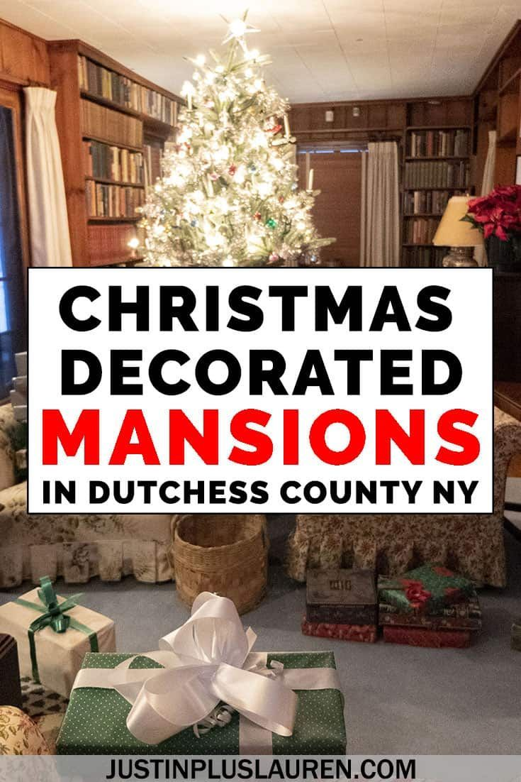 Feeling festive? There are so many Christmas decorations in the Hudson Valley, especially at the mansions! Take a tour of 5 Christmas decorated historic mansions, including state and national historic sites. #Christmas #NewYork #Mansions #Decorations #DutchessCounty #HudsonValley #USA