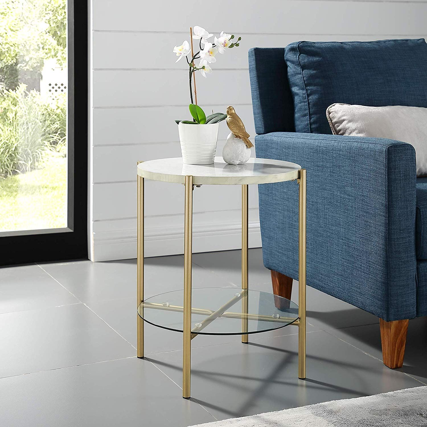 We Furniture Azf20srdstmgd Side Table 20 Faux White Marble Gold Living Room Accent Tables Furniture Living Room End Tables #round #living #room #end #tables