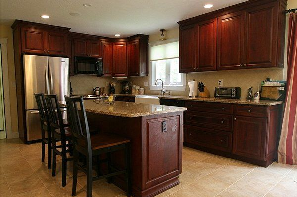 Dark cabinets lt counter floor walls pictures of for Kitchen color ideas with cherry cabinets
