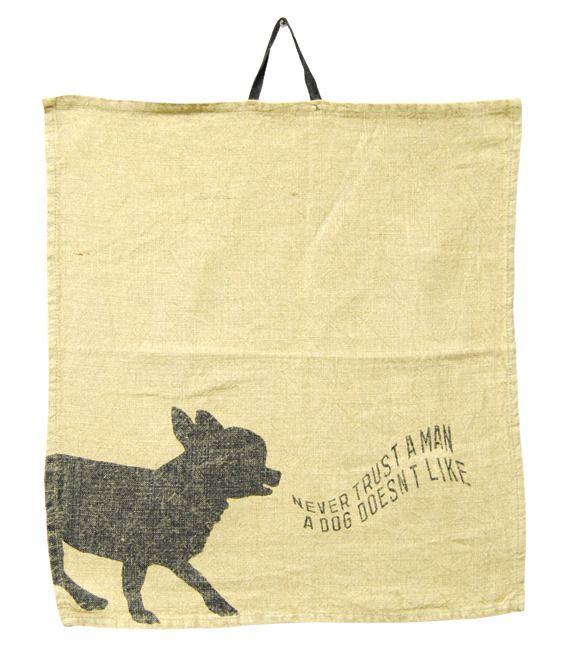 Tea Towels Pillow Talk: Uh Huh. Never Trust A Man A Dog Doesn't Like. Napkin