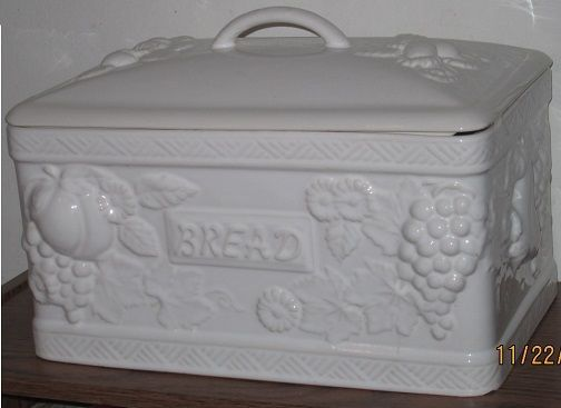 Vintage White European Fabor Bread Box Portugal Ceramic Berry