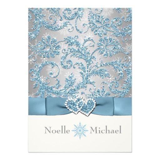 Winter Wedding Invitations Cheap: Winter Wonderland Joined Hearts Wedding Invite