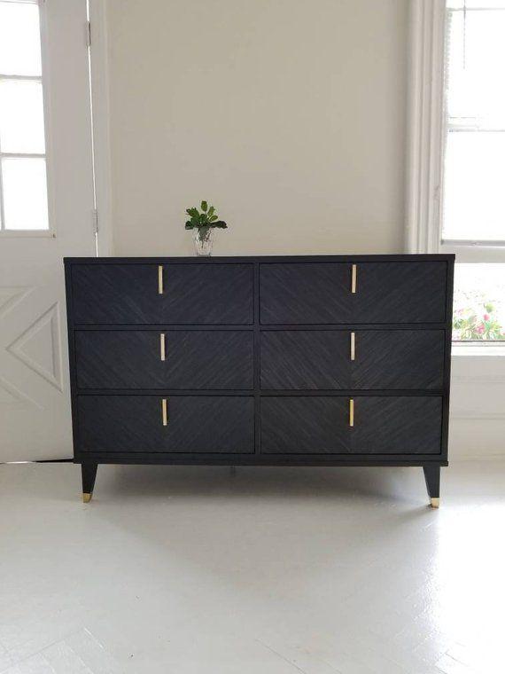 Sold Mid Century Modern Dresser Vintage Mcm Black And Br Boho Home Hollywood Regency Painte