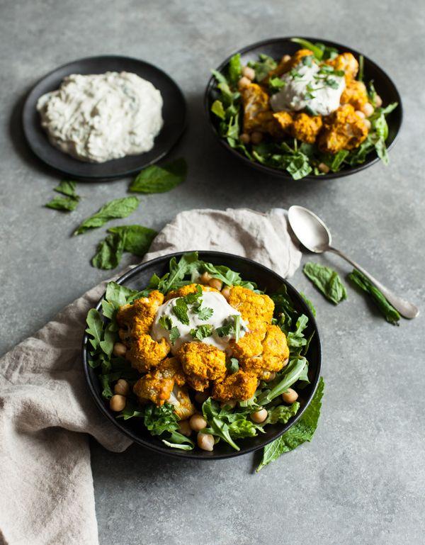 Tandoori Cauliflower Chickpea Bowls With Creamy Cashew Raita