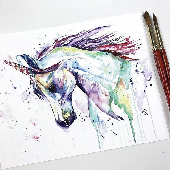 Illustration Aquarelle Sirene Licorne Arc En Ciel Watercolor
