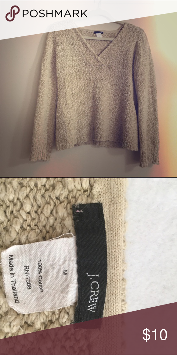 J. Crew M Tan Cotton V-Neck Sweater 100%  thick cotton V-neck J. Crew Sweaters V-Necks