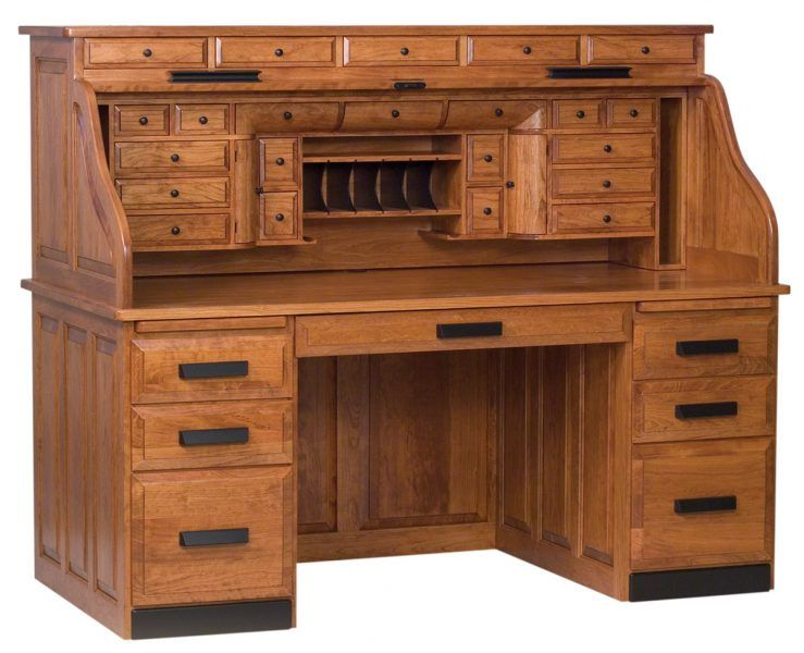 Classic Deluxe Roll Top Desk Leather Living Room Furniture