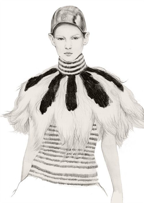 Fashion illustration of Alexander McQueen outfit; fashion drawing // Hye Khim