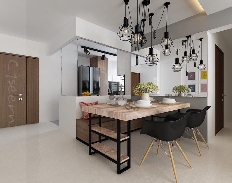 Very Cool Bto Hdb Kitchen And Dining Area Minimalist Dining Room