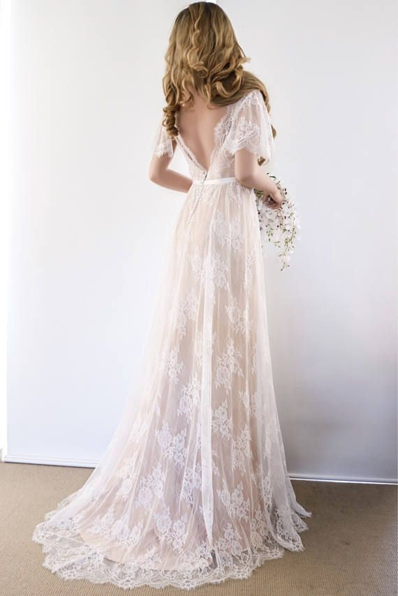 Lace Wedding Dress/ Unique Wedding Dress/ Boho Wedding Dress ...