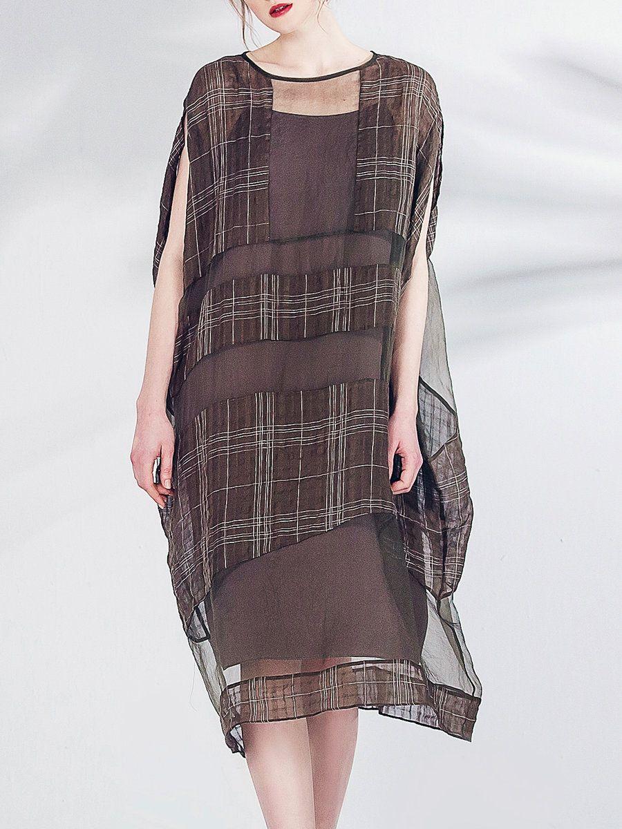 #AdoreWe #StyleWe Midi Dresses - Pokwai Coffee Casual Silk Checkered/Plaid Asymmetric Midi Dress - AdoreWe.com
