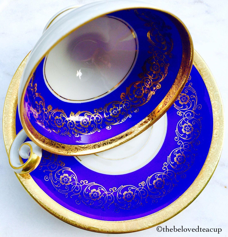 Bavarian Cobalt Blue Pedestal Tea Cup And Saucer By Thebelovedteacup On Etsy Https Www Etsy Com Ca Listing 48178679 Tea Cups Antique Tea Cups Tea Service Set