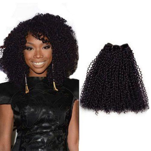 Peruvian Afro Curly Soft Hair 32 inch Virgin Bright Human Hair 100% Smooth Hair Extensions