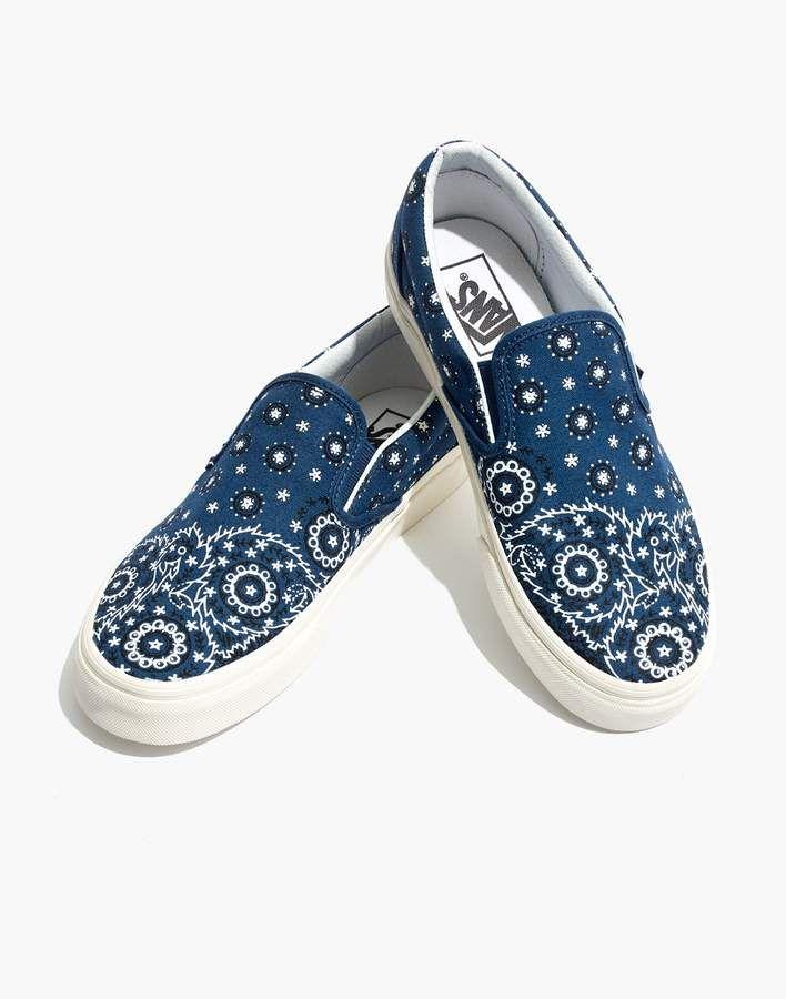 bb88621600 Madewell x Vans Unisex Classic Slip-On Sneakers in Bandana Print in ...