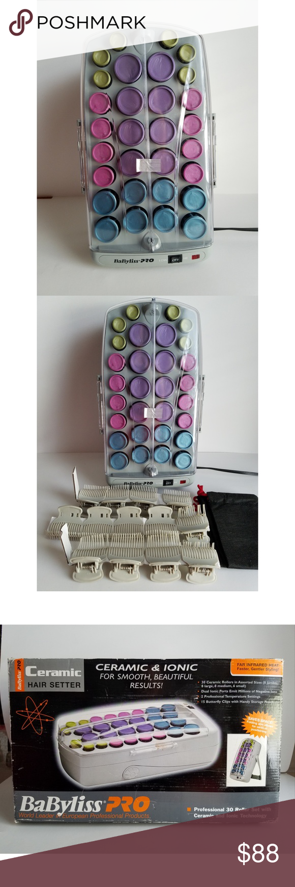 Babyliss Pro Ceramic Ionic 30 Roller Hair Setter Babyliss Pro Ceramic Ionic 30 Roller Hair Setter Brand New Never Used Storage Pouch Babyliss Things To Sell